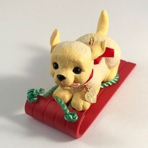 1993 Hallmark Puppy Dog Love Sled Ornament